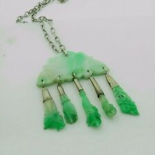 Antique 19th Century Silver Jadeite Assembled Pendant ( from Antique Hair Pins )