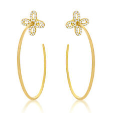 18K VERMEIL Pave 5A Cubic Zirconia Sterling Silver CZ Bow Earrings-925/SS