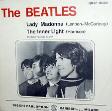 "THE BEATLES LADY MADONNA   7"" ITALY  1968 QMSP 16423  THE INNER LIGHT- N/MINT"
