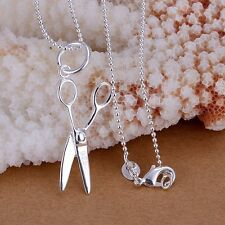 925 Sterling Silver Scissors Pendant Beads Chain Trendy Necklace Jewelry