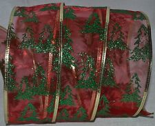 Wired Ribbon~Sheer~Holiday Red~Green Sparkle Christmas Tree~Gold~Wreath~Gift~Bow