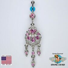 Beautiful Chandelier Dangle Belly Navel Ring Bar Elegant Pink CZ Piercing (D15)