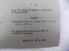 Front Hub Oil Seal Chrysler UK Imp Range 1963 on , Husky 875 c.c. 1967 on