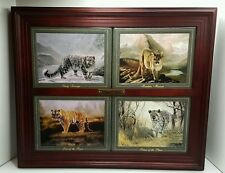Bradford Exchange Portraits of Power Mountain Lion Cat Framed Collector Plates