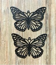 2 Big Black Cut Out Metal Butterfly Charms Jewellery Making Crafts Pretty Goth
