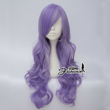 Lolita Mixed Light Purple 80CM Long Curly Women Party Fashion Hair Cosplay Wig