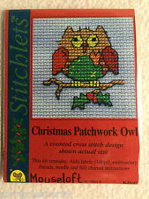 MOUSELOFT STITCHLETS CROSS STITCH KIT~ CHRISTMAS PATCHWORK OWL ~ CHRISTMAS ~ NEW