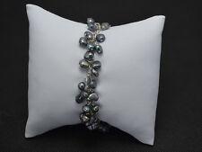 S-008 Perlen Armband Kette SWZ Perlen mit Tibet Silber gefärbt schwarz