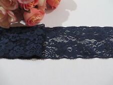 Navy Blue Stretch Lace Trim 8 cm wide #6BE373R 1 metre
