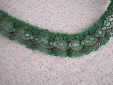 Green and Red Ruffled Beading Lace Trim, 3 YARDS, Christmas Crafts, Doll Clothes