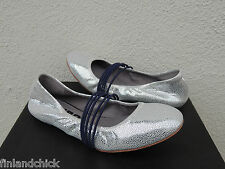 TSUBO HONNOR METALLIC SILVER CRACKLE STRAPPY BALLET FLATS, US 9/ EUR 40 ~NIB