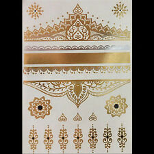 Silver Metallic Temporary Fowers Tattoo Body Henna Transfer Sticker Gold Sticker