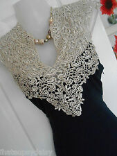 *STUNNING* AX PARIS SIZE 8 NAVY CREAM LACE TOP BODYCON DRESS *FAST POSTAGE**