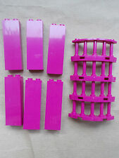 NEW GIRLS LEGO 6 BRIGHT PINK WALL & 4 FENCE BALCONY SECTIONS FRIENDS HOUSE CITY