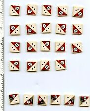 LEGO x 19 Tan Tile 2 x 2 with 2 Black Dots and Skull Pattern and x 6 with 1 Dot