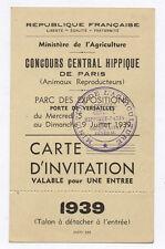 Carte d'invitation Concours Central Hippique 1939 Ministère de l'Agriculture