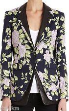 NWT $695 Rag & Bone Floral Print  Leather Trim Blazer Jacket Size 6