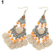 Women's Bohemian Beads Chandelier Hollow Flower Dangle Ear Drop Hook Earrings