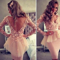 Clubwear Dress Sexy Women Backless Hollow Flower Lace Short Skirt Party Cocktail