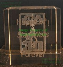 Star Wars Happy 30th Crystal Cube George Lucas Exclusive Party SWAG Laser Etched