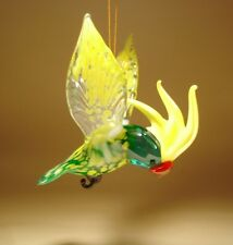 Blown Glass Figurine Bird Hanging Green and Yellow PARROT Cockatoo Ornament