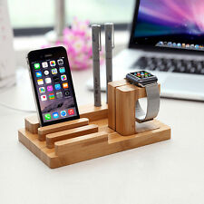 Wood Charge Holder Docking Station Cradle Bracket For Apple Watch iPhone CGYG