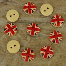 12mm Circle Union Jack Uk Wooden Buttons 2 hole Sewing Coat Craft  x 10 B30