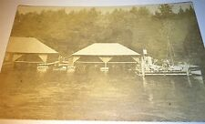 Antique American Dock Boats, Canoes? Skulls? Rowing? Real Photo Postcard! RPPC!