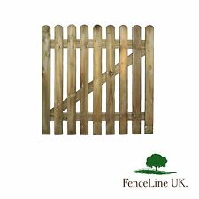 3ft x 3ft Round Topped High Quality Planed Wooden Picket Garden Gate 900 x 900