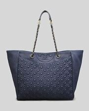 NWT Tory Burch $495 Fleming Denim Indigo Large Quilted Chain Tote Shopper bag