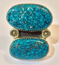 J Crossed Arrows Sterling Silver Spider Web Turquoise Large LADIES RING Sz 10