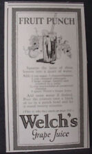 1924 Welch's Grape Juice Fruit Punch Recipe Vintage Print Ad 11784
