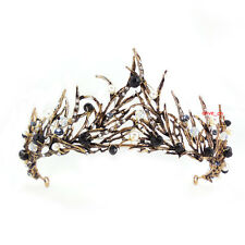 6cm High Antique Brass Leaves Black Crystal Adult Tiara Crown Wedding Prom Party