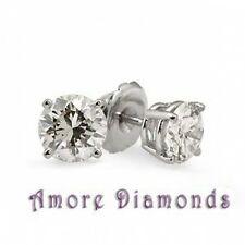 0.98 ct F SI natural round diamond solitaire stud earrings screw back white gold