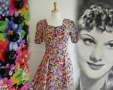 1930's 40's style revival  FLORAL dress SUMMER crepe REVIVAL vintage 10 tall