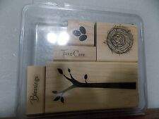Stampin Up Take Care Tree Nest Blessing Eggs set of 5 Wood Mounted L716