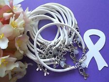 1 DZ LUNG CANCER AWARENESS  BRACELETS/WHITE /'HOPE' RIBBON CHARM  #1