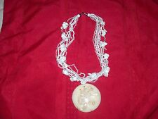 UNIQUE 7 STRAND IVORY PEARL CLUSTER EXOTIC NECKLACE WITH PENDANT