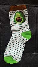Avocado Socks Striped Face Gift Hipster Size 4-7 UK 37-41 EUR Fashion Emoji UK