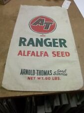 1961 Cloth Farm Corn Seed Sack AT Ranger Arnold Thomas By Pioneer W/Tag Ca