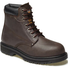 MENS DICKIES CLEVELAND SAFETY BOOTS SIZE UK 9 WORK BROWN LEATHER FA23200