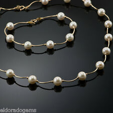 "14K YELLOW GOLD & WHITE FRESH WATER  PEARL SET NECKLACE 18 "" & 7"" BRACELET"