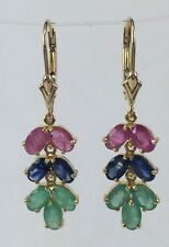 14k Solid Gold Dangle Leverback Earring 4.02CT Natural Mix Ruby Sapphire Emerald
