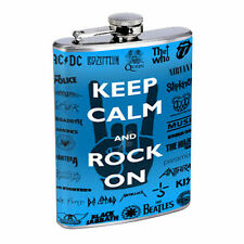 80's Images D13 Flask 8oz Stainless Steel Hip Drinking Whiskey Keep Calm Rock On