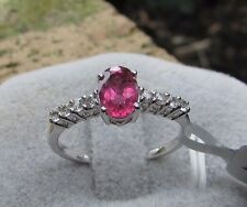 1.01 cts Rubellite Tourmaline Solitaire Size 7 Ring in 10k White Gold w/Accents