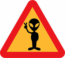 A4 Poster – Alien in a Warning Triangle Give Peace Sign (Picture Print UFO Art)