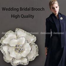 Large Silver Flower Crystal Rhinestone Diamante Wedding Brooch Bridal Party Pin