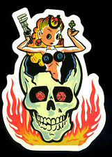Hot Rod Sticker Lady luck in Flames Skull Drag Race Motorcycle Kustom Kulture
