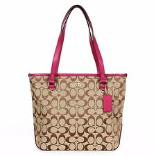 Coach F36375 12CM Signature Zip Top Tote Khaki/Cranberry