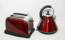 Red Pyramid Style 1.8L Cordless Electric Kettle + Wide Bread Slice Toaster Set